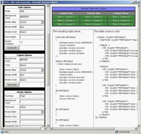 table html generator les concepteurs artistiques html5 css3 tableau generator