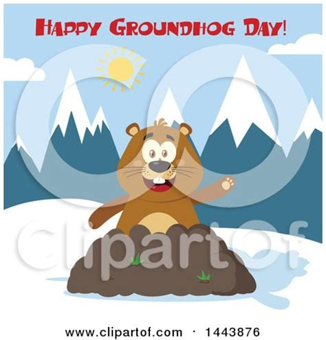 groundhog day zodiac sign clipart of a flat styled groundhog mascot waving in a pile