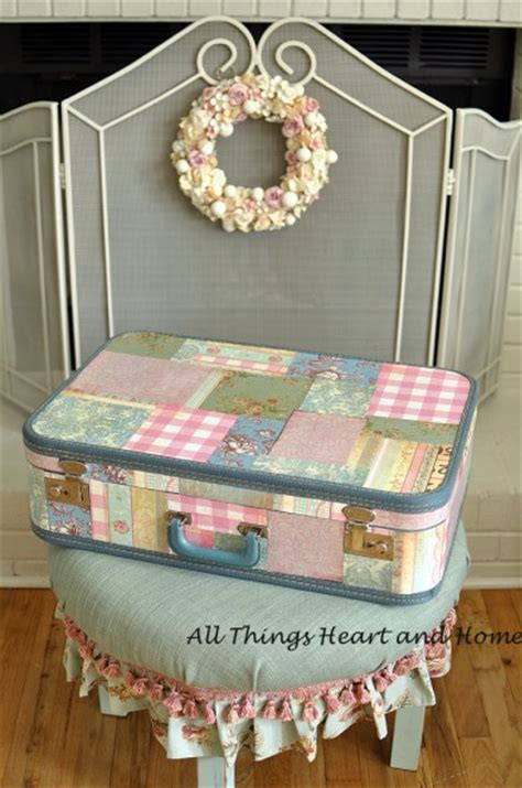 decoupage vintage suitcase vintage suitcase mod podge all things and home