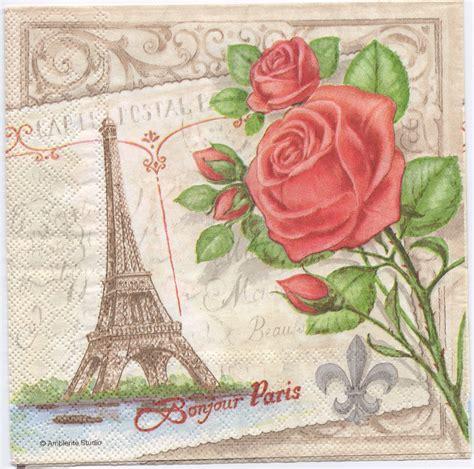 decoupage napkin decoupage paper napkins eiffel tower roses chn00198 1