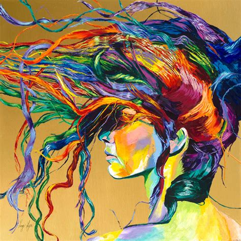 acrylic painting hair bright paintings giclee print reproductions