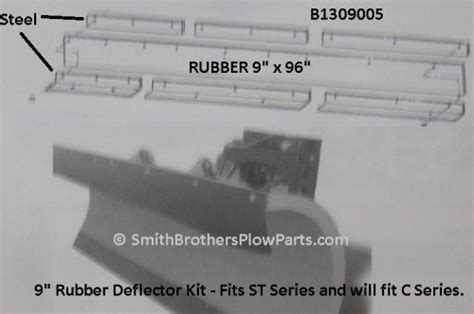 smith rubber st 9 quot rubber deflector kit for meyer st plows