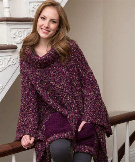 free knit poncho patterns cozy pocketed knit poncho allfreeknitting