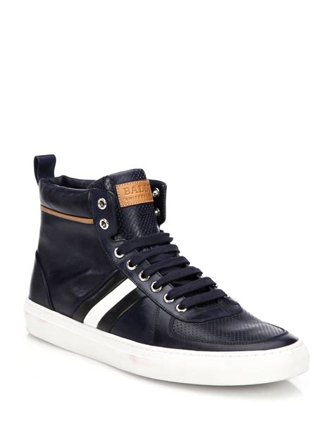 leather high top shoes for bally perforated leather high top sneakers in blue lyst