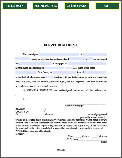 release of mortgage certificate by individual free