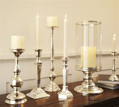 silver holders eclectic silver plated candlesticks pottery barn