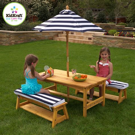 outdoor furniture for children kidkraft outdoor table and bench set with cushions and