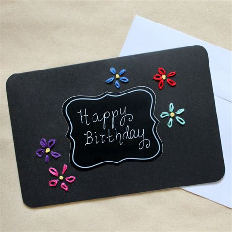 how to make handmade greeting cards handmade birthday card coloured embroidery on black