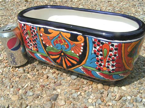mexican pottery planters painted mexican talavera planter pottery plant pot