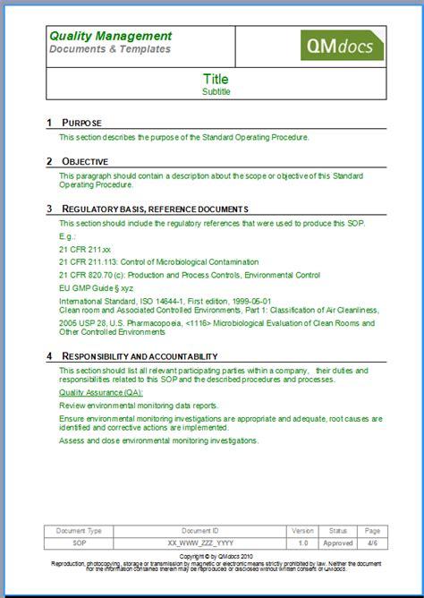 standard operating procedure template word best business