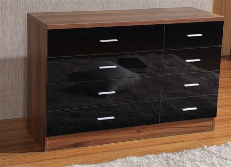 walnut and black bedroom furniture high gloss 8 drawer chest 4 4 bedroom furniture