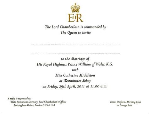 the royal invitation to the wedding of prince william