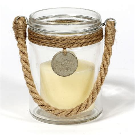 Glass Candle Holder With Rope by Candle Holders