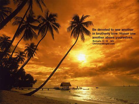 Free Christian Sunset Wallpaper Romans 12: 10   ChristianMingler