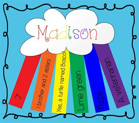 all about me crafts for all about me rainbow day of school activity
