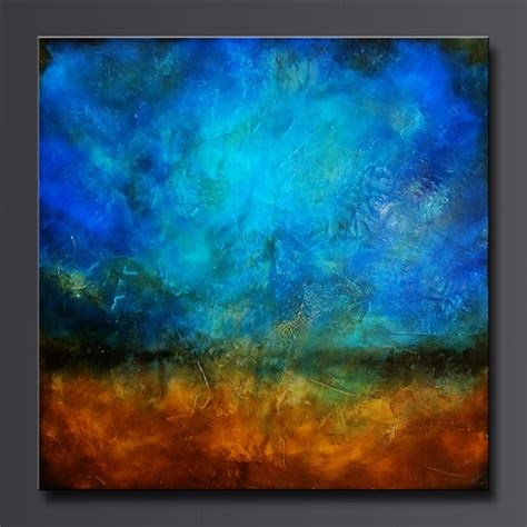 acrylic paint abstract sapphire and sand 2 30 x 30 acrylic abstract painting