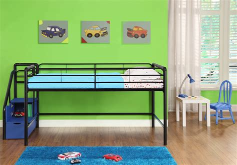 metal bunk beds with storage metal low loft bunk bed with stairs and storage for