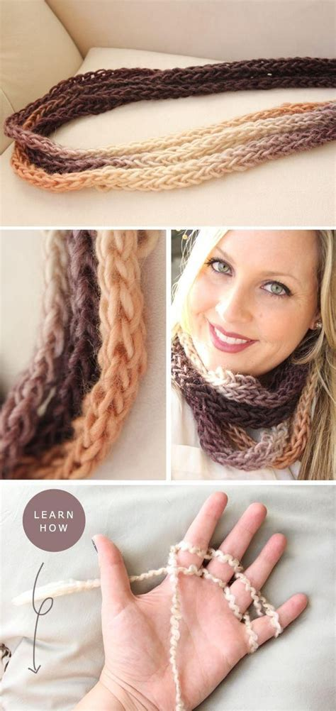 how to finger knit a thick scarf oltre 1000 immagini su knitted scarves collars su