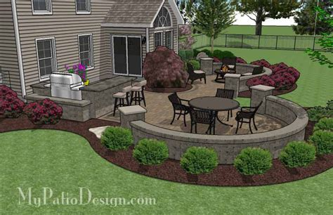 patio paver design large paver patio design with grill station seat walls