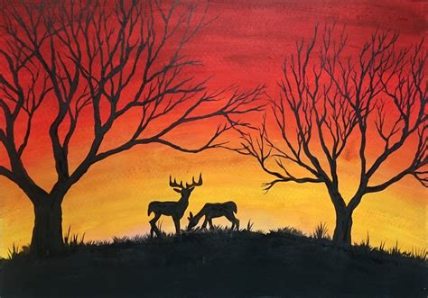 is painting deers among trees speed acrylic painting