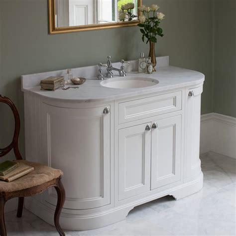 traditional bathroom vanity units burlington matt white 1340mm curved freestanding vanity