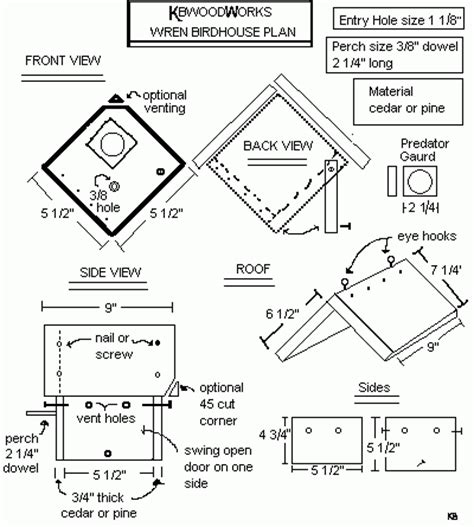 house wren birdhouse plans bird house plans