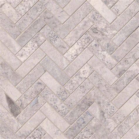 silver travertine herringbone pattern honed backsplash