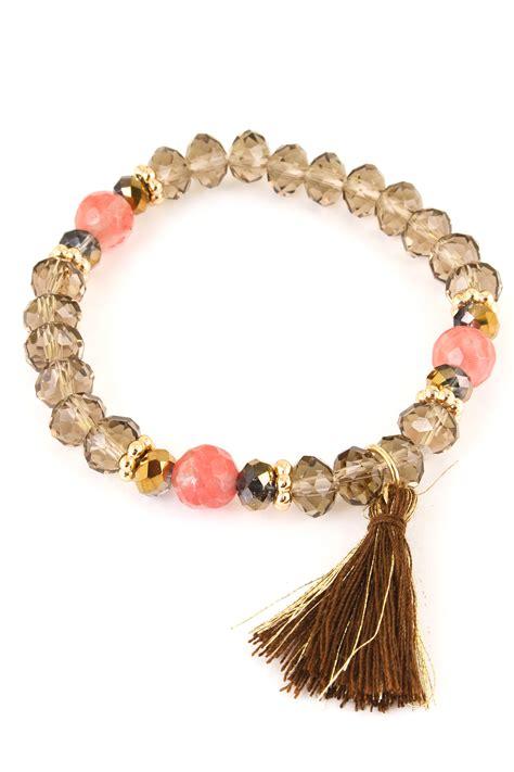 stretch bead bracelets glass bead tassel stretch bracelet bracelets