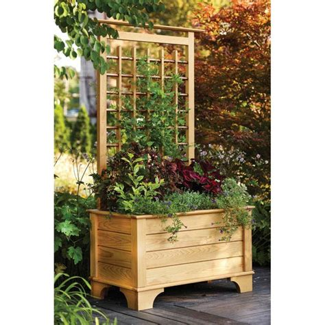 wood planter boxes woodworking plans planter box and trellis woodworking plan from wood magazine
