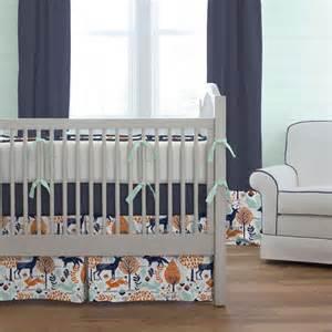 and navy crib bedding navy and orange woodland crib bedding carousel designs