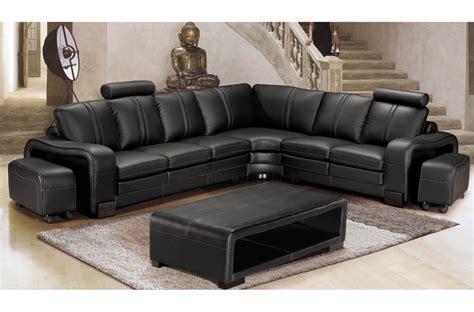 canap 233 d angle en cuir italien 7 places evita noir mobilier priv 233