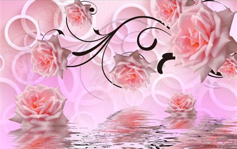 Butterfly Wall Murals pink rose 3d stereoscopic television wall 3d wallpaper