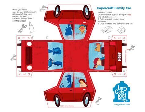 paper craft car larry papercraft car larry gets lost