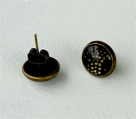 gold black earrings black and gold stud earrings felt
