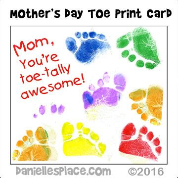 mothers day cards for early years to make quot i toe tally you toe print s day card