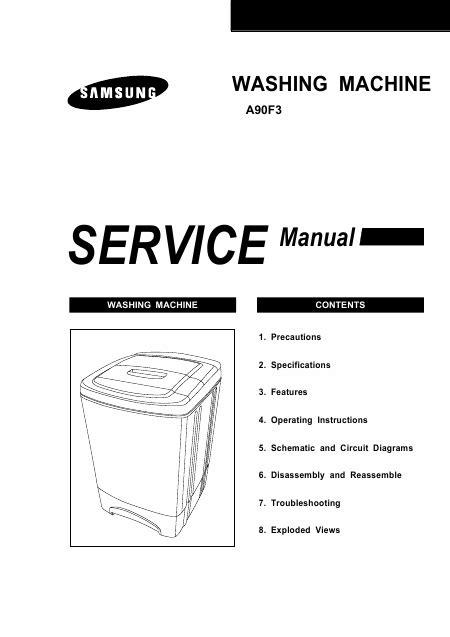 samsung wa90f3 manuel de service t 233 l 233 charger pdf lave linge anglais