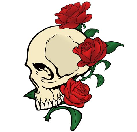 free vector skull with roses download free vector art
