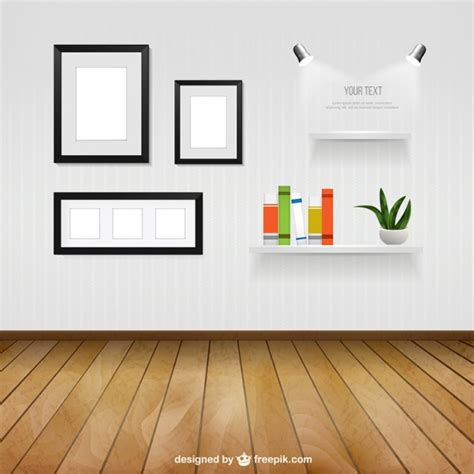 home interior frames interior room with wall frames and shelves vector free