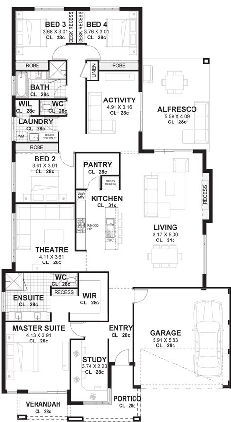 house plans with 4 bedrooms 4 bedroom house plans home designs perth vision one homes