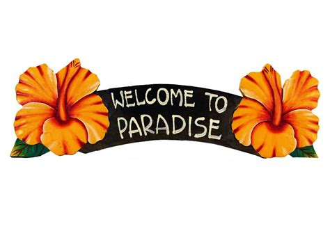 Artificial Flower Home Decor welcome to paradise yellow hibiscus sign