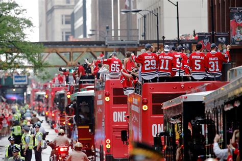 Baseball Teams look sights from blackhawks stanley cup parade and rally