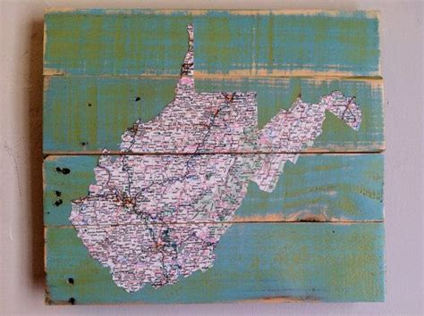 decoupage map west virginia map decoupage pallet upcycled recycled