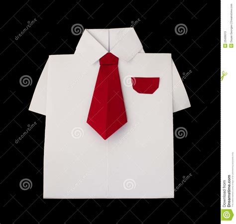 origami shirt with tie origami white shirt with tie stock photos image 23436613