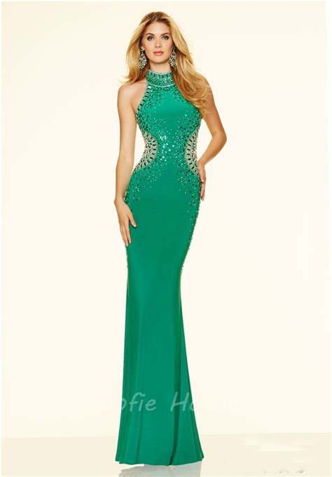 high neck beaded prom dress slim mermaid high neck open back black beaded evening