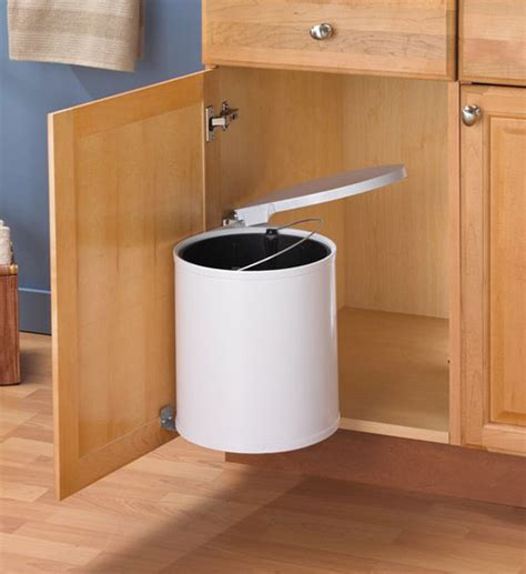kitchen cabinet garbage can swing out white trash can in cabinet trash cans