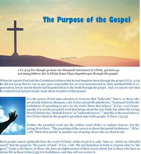 the purpose of gospel purpose