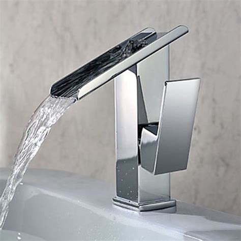 modern bathroom faucets and fixtures single handle contemporary solid brass waterfall bathroom