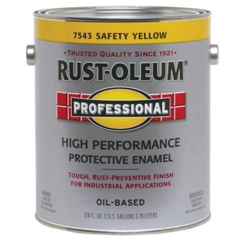 home depot yellow traffic paint rust oleum professional 1 gallon safety yellow paint