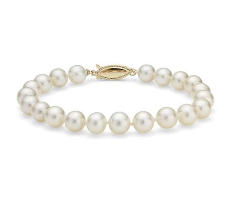 cultured pearl freshwater cultured pearl bracelet in 14k yellow gold 7 0