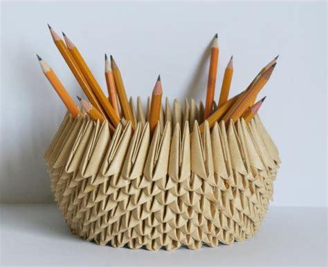 origami pencil cup paper bowl paper anniversary origami pencil holder